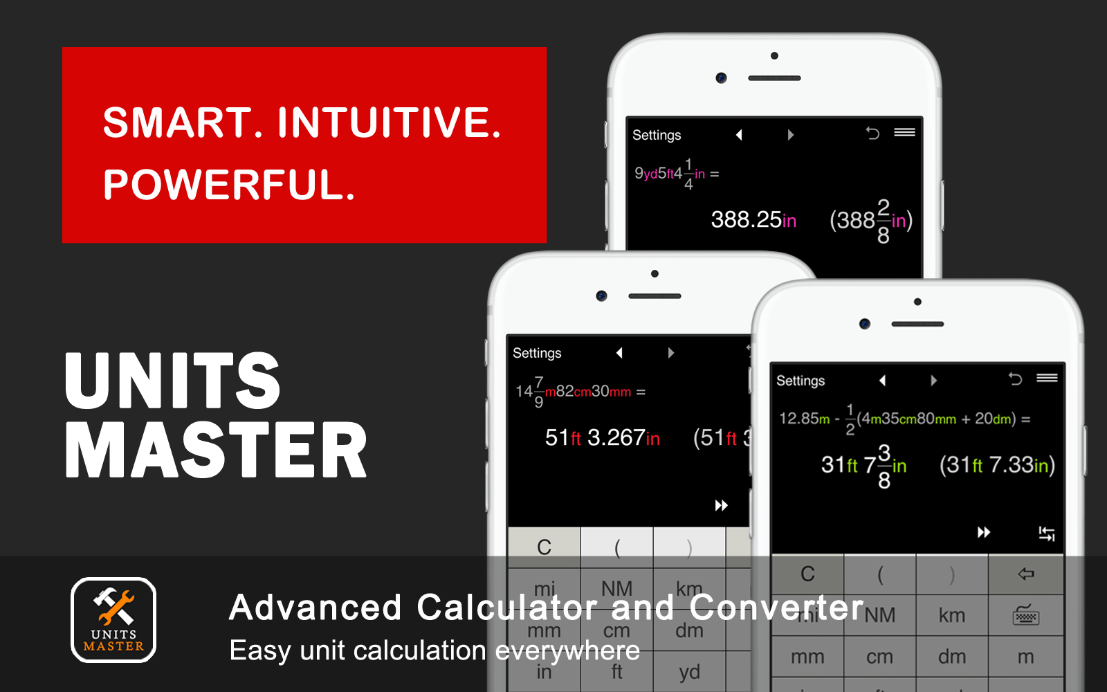 Advanced unit calculation and conversion app