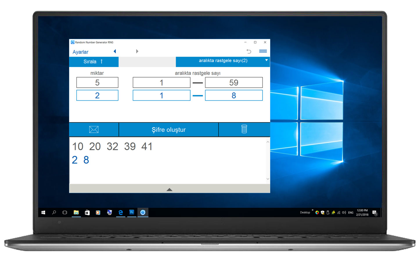 Windows için Rasgele Sayı Üreticisi